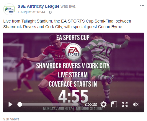 The EASports FAI Cup, streamed to over 93k people via Facebook